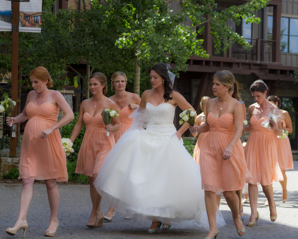 Best tips to match your gown with your bridesmaids las vegas you could all wear the same dress cut and design for example if you will wear a long a line your bridesmaids could wear the same type of dress ombrellifo Image collections
